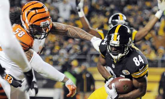 Steelers Antonio Brown, right, makes a touchdown catch past Cincinnati Bengals  (AP Photo/Don Wright)