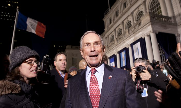 Michael Bloomberg leaves New York City Hall for the last time as mayor in on Dec. 31, 2013. (Samira Bouaou/Epoch Times)