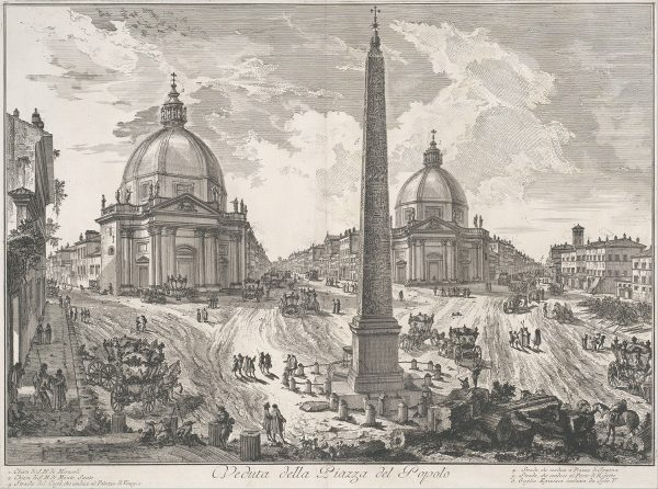 The Piazza del Popolo, ca. 1750, etching, by Giovanni Battista Piranesi. (The Metropolitan Museum of Art)