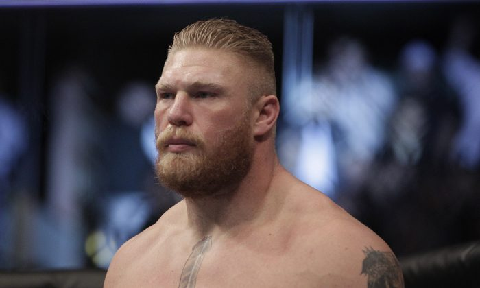 Brock Lesnar during a UFC mixed martial arts match in Anaheim, Calif., Saturday, Oct. 23, 2010. A return rumor about Lesnar has sparked interest. (AP Photo/Jae C. Hong)