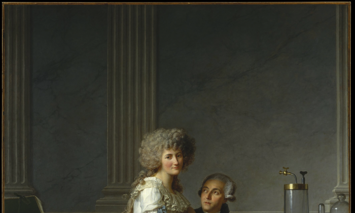 """""""Antoine-Laurent Lavoisier (1743–1794) and His Wife (Marie-Anne-Pierrette Paulze, 1758–1836),"""" 1788, by Jacques-Louis David (French, 1748–1825). Oil on canvas. (The Metropolitan Museum of Art)"""