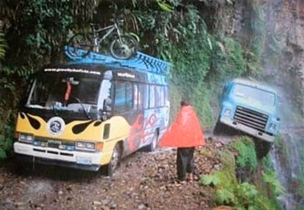 The most dangerous road in the world, from La Paz to Coroico, Bolivia (*Image via YouTube)