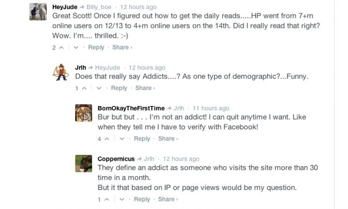 Former HuffPost users commenting on Epoch Times discuss the apparent impact the exodus of users is having on HuffPost's traffic. (Screenshot/Epoch Times)