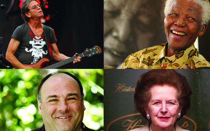 From Left Up: Lou Reed (AP Photo/John Smierciak, File), James Gandolfini (AP Photo/Matt Sayles, File), Nelson Mandela (AP Photo/Denis Farrell), and Margaret Thatcher (Hugo Philpott/AFP/Getty Images).