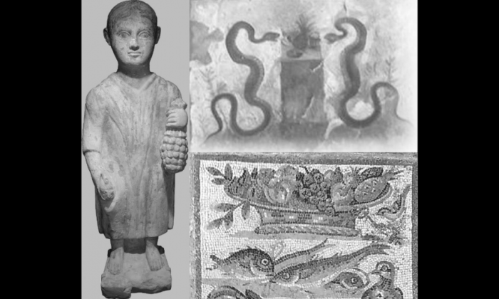 Three depictions of pineapples created by ancient Romans. Pineapples originated in South America, and these works are part of a growing body of evidence that ancient Europeans had contact with the New World. (Lucio Russo)