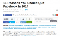 Huffington Post Draws Ire After Posting '11 Reasons You Should Quit Facebook' Following New Comment Policy
