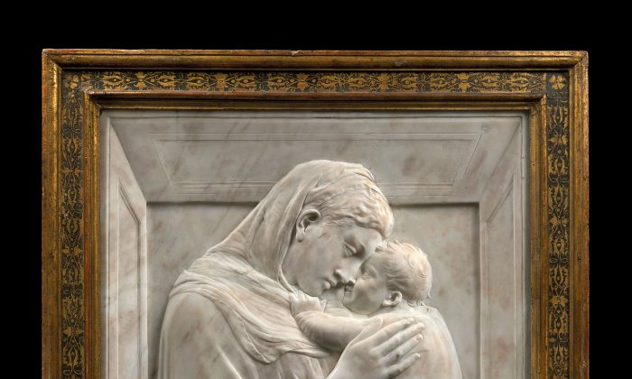 """""""The Virgin and Child (Madonna Pazzi),"""" circa 1420-1425 by Donatello (1386-1466). Marble. (Bode Museum, Berlin)"""
