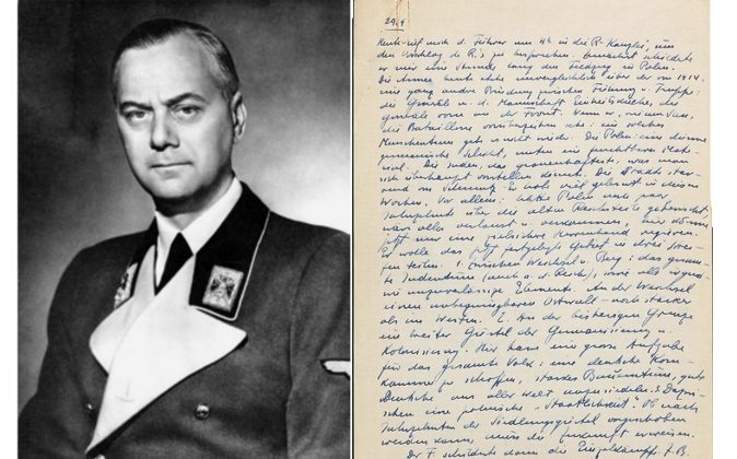 Alfred Rosenberg and  his diary. This is the page from 29. 9. 1939, 28 days after World War II. broke out. (Epoch Times; German Federal Archive and USHMM screenshot).