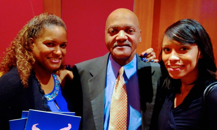 Mr. Hugh and Mrs. Jackie Edwards with Karen Bryson, enjoy Shen Yun Performing Arts at Atlanta's Cobb Energy Centre. (Mary Silver/Epoch Times)
