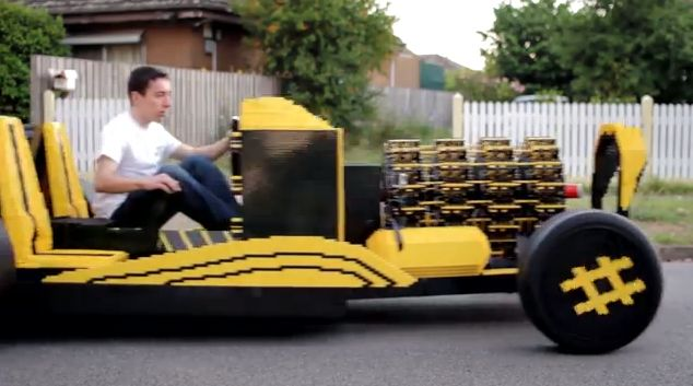 A car made of more than 500,000 pieces of Lego, designed by Raul Oaida, a 20-year-old Romanian student, and funded by Australian entrepreneur Steve Sammartino. (Screenshot/Steve Sammaritino/YouTube)