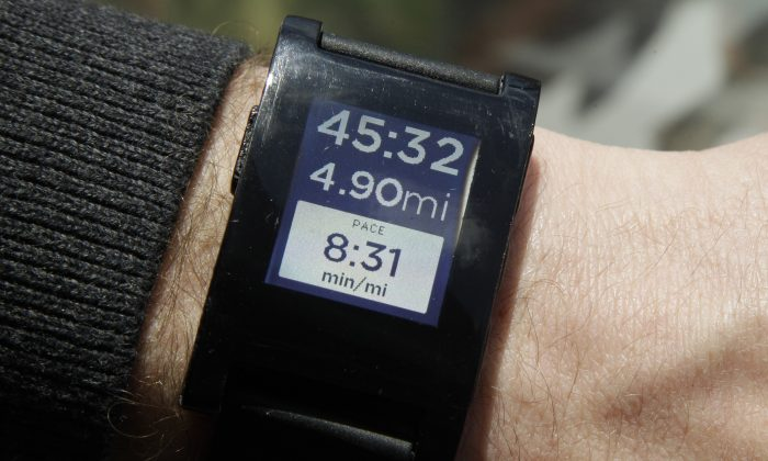 A file photo of the Pebble smartwatch. (AP Photo/Mary Altaffer)
