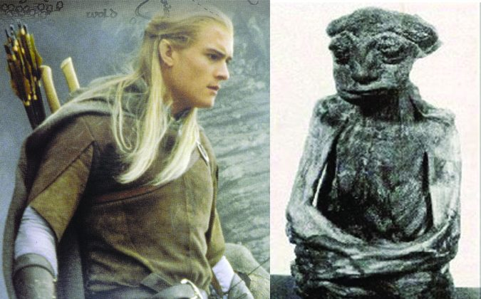 "Left: An elven character in ""Lord of the Rings,"" Legolas as shown on a New Zealand stamp. (Shutterstock*) Right: A mummy found in the Pedro Mountains in Wyoming believed by some to be the remnants of an elf. (Wikimedia Commons)"