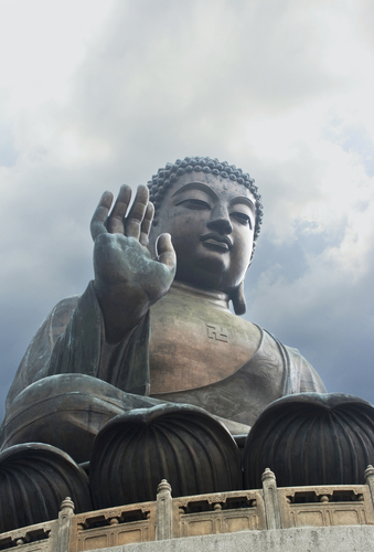 A Buddha statue on Lantau Island, Hong Kong with a swastika symbol on the chest. (Shutterstock*)