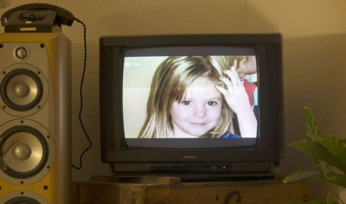 A photo of British girl Madeleine McCann aka Maddie is displayed on a TV screen at an apartment in Berlin, on Oct. 16, 2013.