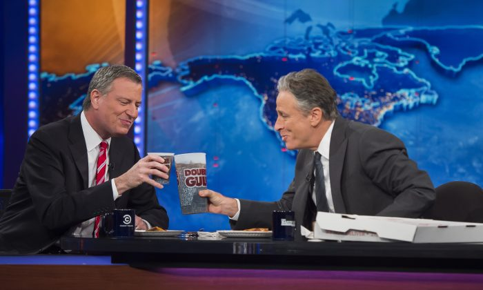 Jon Stewart, the longtime host of Comedy Central's The Daily Show, will be leaving this year, according to reports.  (AP Photo/Rob Bennett, Mayor's Press Office)