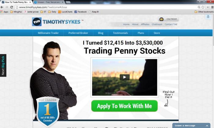 Timothy Sykes's website www.timothysykes.com (Screenshot)