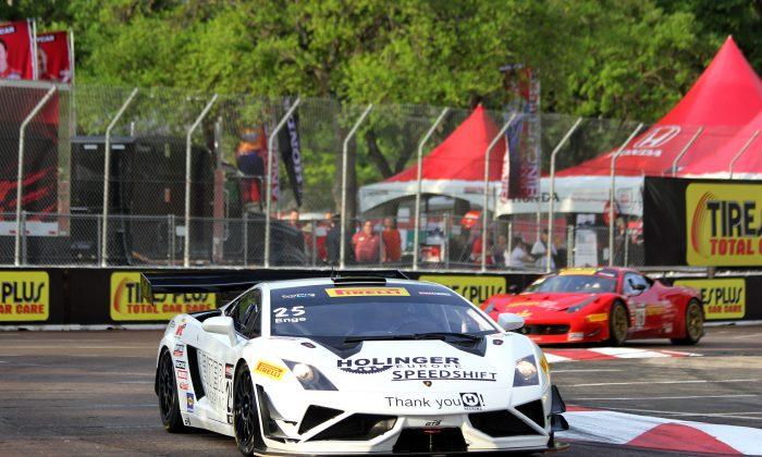 Tomas Enge in the #25 Reiter Engineering Lamborghini Gallardo FL2 qualified on the pole for the Pirelli World Challenge Cadillac Grand Prix of St. Petersburg. (Chris Jasurek/Epoch Times)