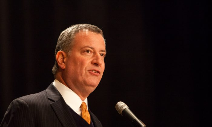 New York City Mayor Bill de Blasio on Jan 29, 2014. (Petr Svab/Epoch Times)
