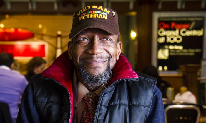 Harvell Ford, a formerly homeless Vietnam veteran, sits in the food court at Grand Central Terminal in Manhattan, New York, on Feb. 26, 2014. (Samira Bouaou/Epoch Times)