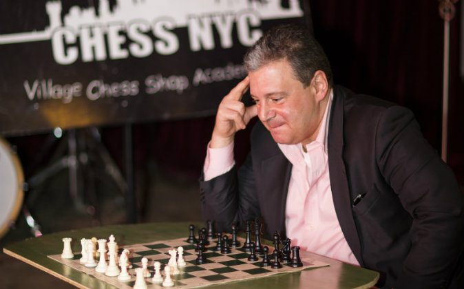 Michael Propper, president of Chess NYC, at the Village Chess Shop in Greenwich Village, Manhattan, New York, on March 12, 2014. (Edward Dai/Epoch Times)