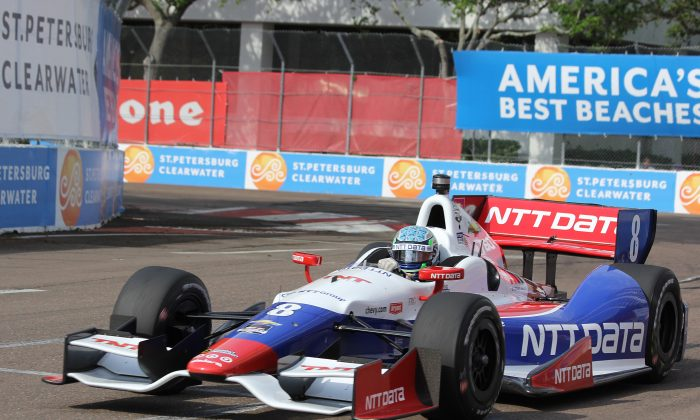 Ryan Briscoe in the #8 NTT Data Chip Ganassi Racing Dallara-Chevrolet set the weekend's fastest time in the final practice session for the Firestone Grand Prix of St. Petersburg. (Chris Jasurek/Epoch Times)