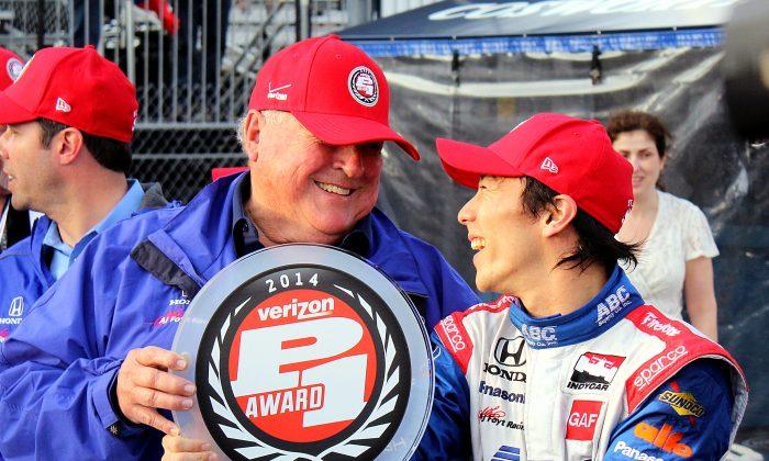 Takuma Sato (R) and team owner, racing legend AJ Foyt, share a laugh after winning the Verizon P1 Pole Award for the IndyCar Firestone Grand Prix of St. Petersburg. (Chris Jasurek/Epoch Times)