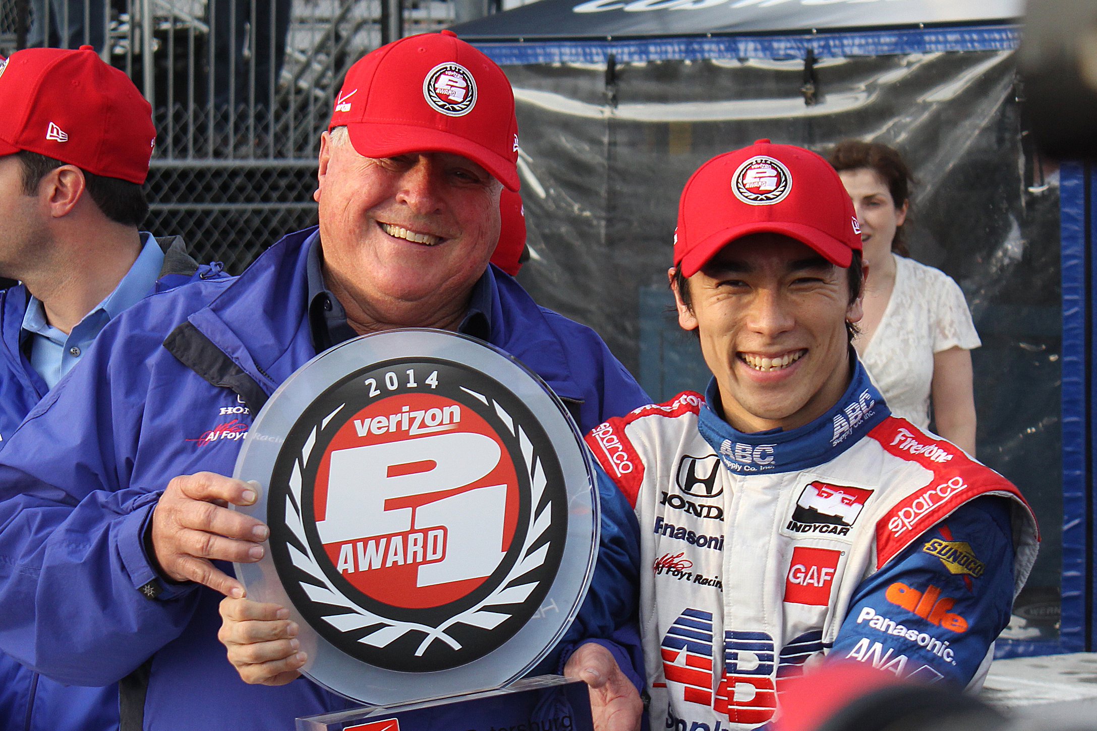 AJ Foyt and Takuma Sato share the Verizon P1 Pole Award after Sato scored the pole for the St. Pete Grand Prix. (Chris Jasurek/Epoch Times)