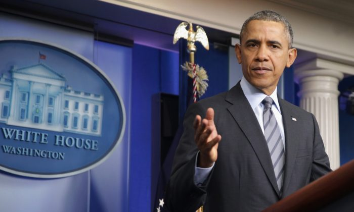 U.S. President Barack Obama makes a statement to the news media about Ukraine in the Brady Press Briefing Room at the White House March 6, 2014 in Washington, DC. Obama announced visa bans on Russian officials and others the U.S. believes are responsible for actions that have undermined UkraineÕs sovereignty and territorial integrity.  (Photo by Chip Somodevilla/Getty Images)