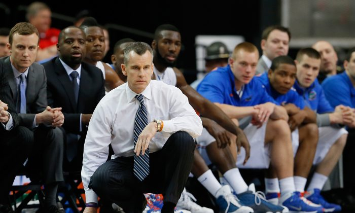 Head coach Billy Donovan of the Florida Gators looks on against the Missouri Tigers during the quarterfinals of the SEC Men's Basketball Tournament at Georgia Dome on March 14, 2014 in Atlanta, Georgia. (Kevin C. Cox/Getty Images)