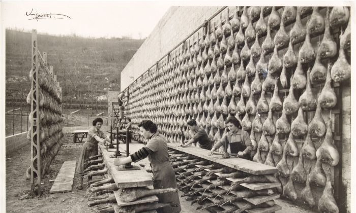 Artisanal production of prosciutto at Principe started in 1945. The particular microclimatic conditions in San Daniele are key in its aging. (Courtesy of Principe)
