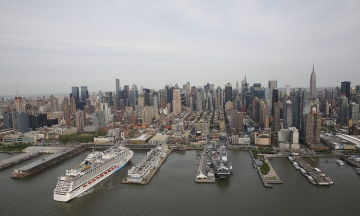 Piers 88 and 90 of the Manhattan Cruise Terminal, located on the Hudson River. (courtesy of NYCruise)