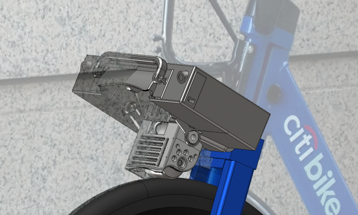 A rendering of the ShareRoller on a CitiBike. (Courtesy of ShareRoller)