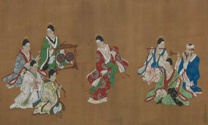"""Ryukyuan Dancer and Musicians"" by Miyagawa Choshun (1683–1753). Hanging scroll: ink and light color on silk, 23 by 45.5 in. (Courtesty of Sebastian Izzard)"
