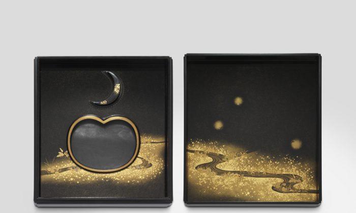 Hotaru makie suzuribako firefly design Inkstone box by Unryuan Kitamura Tatsuo 2010. 6.8 by 6 inches. (Courtesy of Lesley Kehoe Galleries)