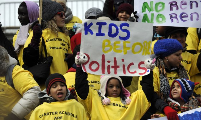 A group of charter school students rally in support of charter schools outside the Capitol in Albany, N.Y., on Tuesday, Mar. 4, 2014. (Tim Roske/AP)