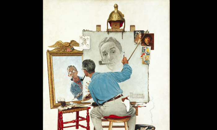 """""""Triple Self-Portrait,"""" cover illustration for The Saturday Evening Post, Feb. 13, 1960. (Norman Rockwell Museum Collection)"""