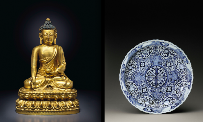 "(L) A Ming Dynasty gilt-bronze seated figure of the Medicine Buddha, sold at Christie's ""Asian Masterpieces of Devotion"" sale for $5,541,000. (Courtesy of Christie's)  (R) A Yuan Dynasty blue and white plate that sold at Sotheby's for $4,197,000. (Courtesy of Sotheby's)"
