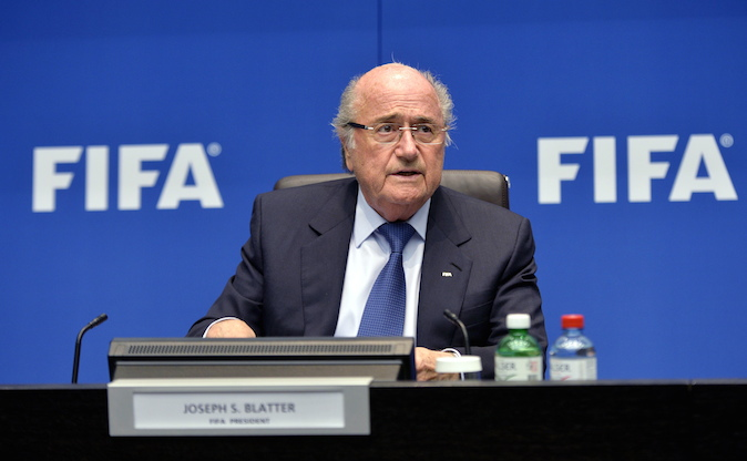 """FIFA President Joseph """"Sepp"""" Blatter speaks during a press conference at the conclusion of the meeting of the FIFA Executive Committee at the Home of FIFA in Zurich, Switzerland, Friday, March 21, 2014. Among other topics, the FIFA Executive Committee covered sports political matters including an update on the workers' welfare in Qatar. (AP Photo/Keystone,Walter Bieri)"""