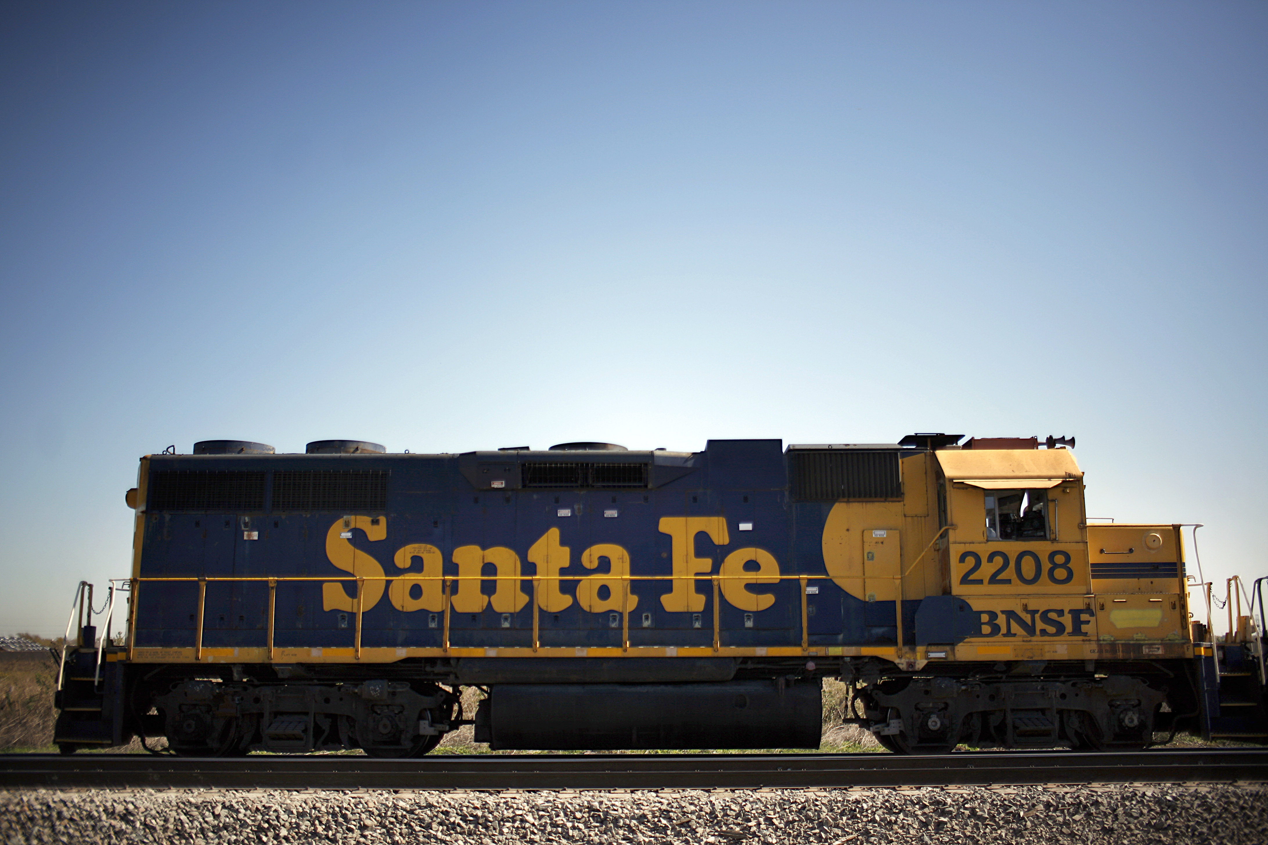 A locomotive sits idle near the Burlington Northern Santa Fe (BNSF) Railway Intermodal Facility on Nov. 3, 2009, in Haslet, Texas. The BNSF purchase was one of the biggest acquisitions of Warren Buffett's Berkshire Hathaway. (Tom Pennington/Getty Images)