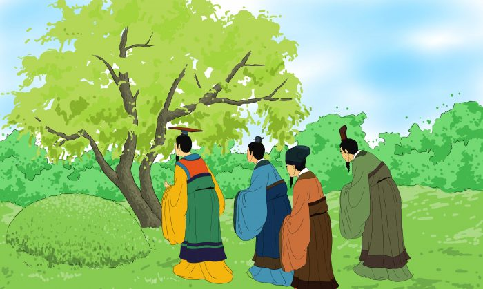 The next year, Chong Er, the king of the state of Jin, visited Jie's tomb. To their surprise, they discovered that the burned willow tree was alive and full of new branches with green leaves. It was as if Jie was greeting them and encouraging the king to remain pure and bright. (Zhiching Chen/Epoch Times)
