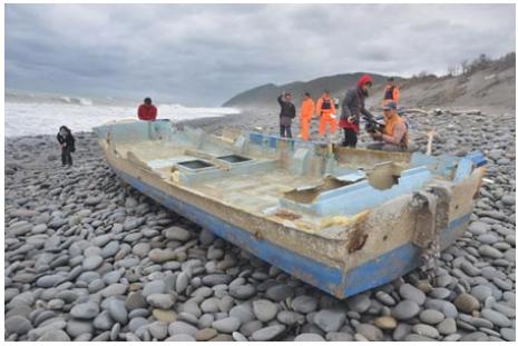 Screenshot showing a boat discovered in Taiwan three years after it was set adrift in Japan by the 2011 tsunami. (Screenshot/Want China Times)