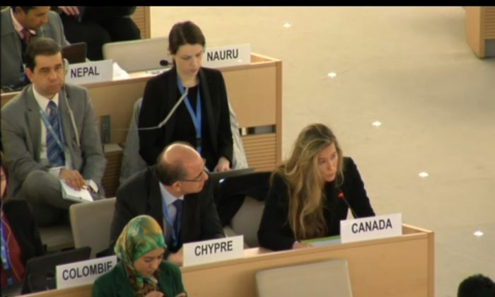 Canada's representative on human rights to the United Nations, Anne-Tamara Lorre, raised the issue of organ harvesting without consent within China at the U.N. Human Rights Council meeting on March 12, 2014. (Screenshot via webtv.un.org)
