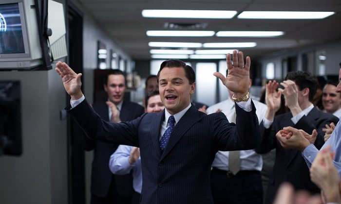 """Leonardo DiCaprio as Jordan Belfort in """"The Wolf of Wall Street"""" from Paramount Pictures and Red Granite Pictures. The film is nominated for five Oscars, including best picture, but came very close to never getting made. (AP Photo/Paramount Pictures, Mary Cybulski)"""