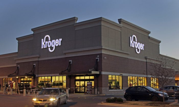 This June 12, 2012 file photo shows a Kroger store in Indianapolis. (AP Photo/Michael Conroy, File)
