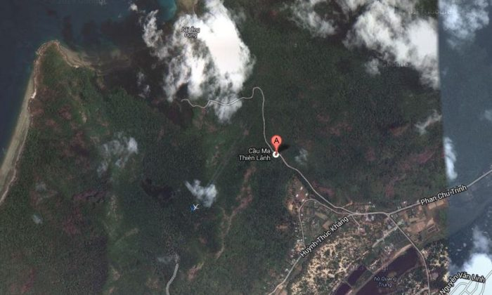 This screenshot shows one of the Google Maps locations that netizens said was where the plane crashed. Google said otherwise. (Screenshot / Google Maps)