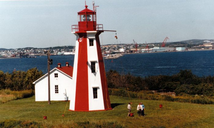 The lighthouse on Partridge Island in 1985, when tourists could still visit. (Heritage Resources, Saint John)