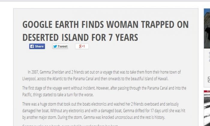 A story that claims a woman, Gemma Sheridan, was found via Google Earth after she was on a deserted island for seven years is fake. (News-Hound.org screenshot)