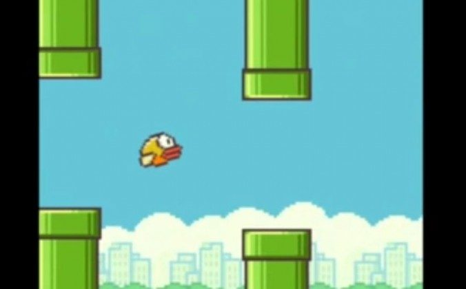 """A screenshot of the mobile game """"Flappy Bird."""""""