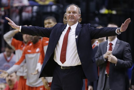Ohio State head coach Thad Matta directs his team in the second half of an NCAA college basketball game against Nebraska in the quarterfinals of the Big Ten Conference tournament Friday, March 14, 2014, in Indianapolis. Ohio State won 71-67. (AP Photo/Michael Conroy)