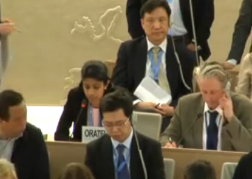 Vani Selvarajah (centre left) addresses the United Nations Human Rights Council in Geneva on March 20, 2014. (Epoch Times/screenshot/webtv.un.org)